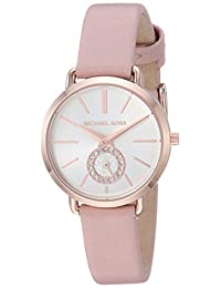 Michael Kors Women's Quartz Stainless Steel and Leather Casual Watch, Color:Pink (Model: MK2735)