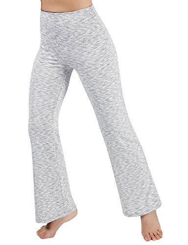 ODODOS Power Flex High Waist Boot Cut Yoga Pants Tummy Control Workout Running 4 way Stretch Boot Leg Yoga Pants With Hidden Pocket,SpaceDyeWhite,XX-Large (Womens Iv Boots)