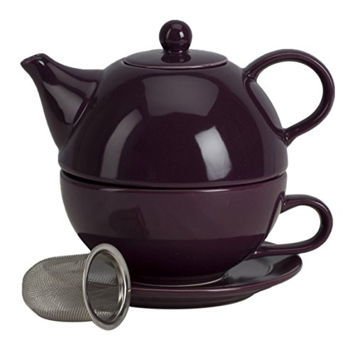 - Omniware 1500165 5 Piece Tea For One Teapot Set with An Infuser, Aubergine