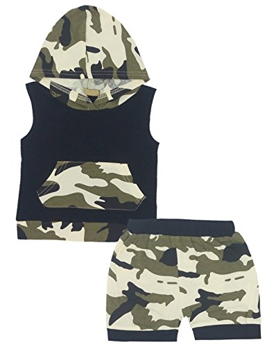 Baby Boys' Camouflage Hoodie + Shorts Pants Outfits Set Clothes (12-18M, Camouflage) (Soldiers Outfit)