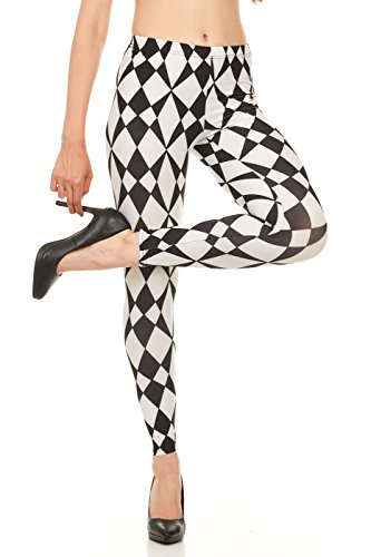 CARNIVAL Women's Full-Length Printed Soft Microfiber Legging, Black White Triangles, Large