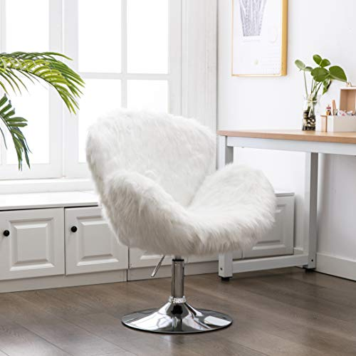 ZHENGHAO Faux Fur Swivel Makeup Stool, Modern White Swan Chair Long Hair Shaggy Dog Accent Chair for Living Room/Bedroom (Alabaster White)