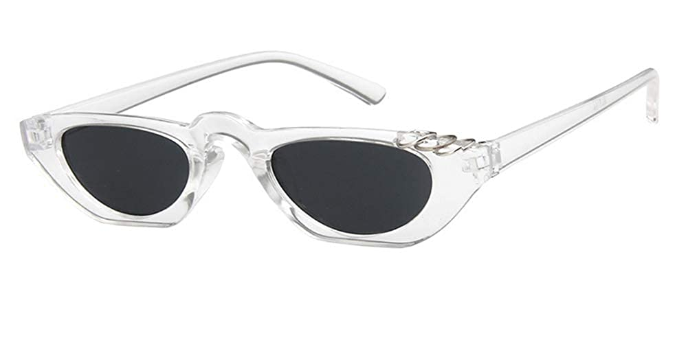 Sopaila Small metal rings Slim Vintage Wide Oval Pointy Small Thin Sunglasses