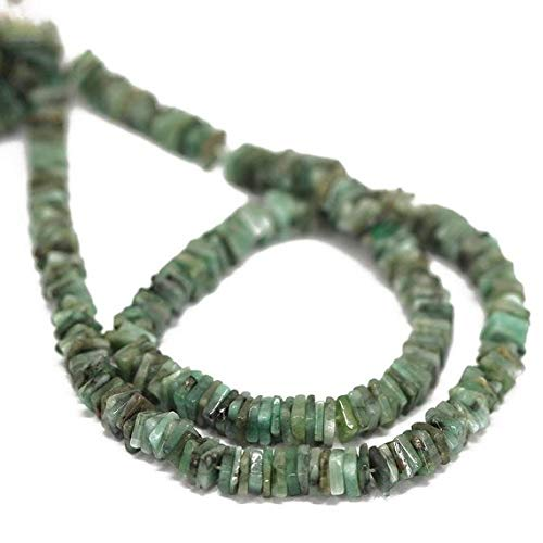Beads Bazar Natural Beautiful jewellery 5 Strand Lot Natural Green Emerald Smooth Square Heishi Cube Gemstone Craft Loose Beads 16