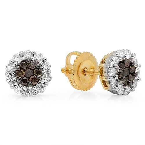 0.50 Carat (ctw) 14K Yellow Gold Round Champagne And White Diamond Cluster Flower Stud Earrings 1/2 CT