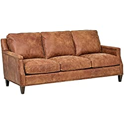 "Stone & Beam Marin Leather Studded Sofa, 87""W, Saddle Brown"