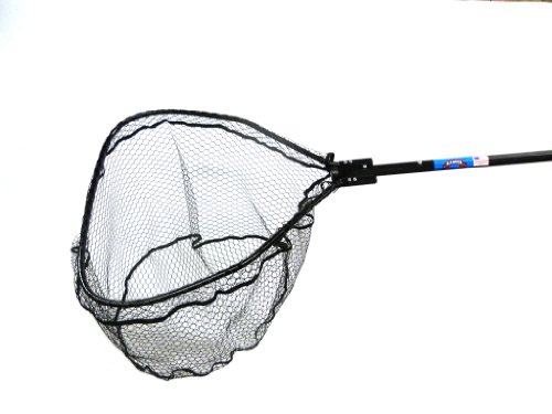 Ranger Nets Knotless Flat Bottom Rubber Coated Net with Telescopic Octagon Handle, 54x84-Inch, Black