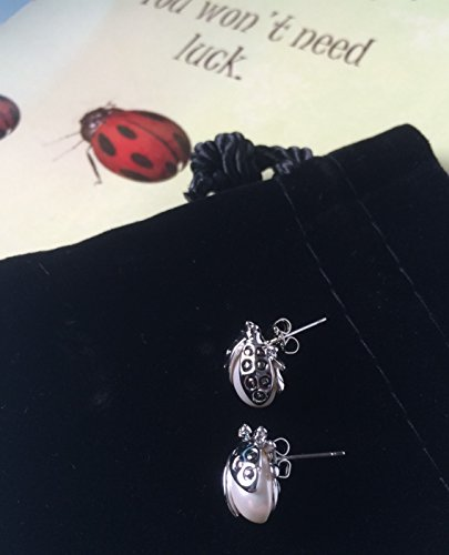 Smiling Wisdom - Ladybug Good Luck Greeting Card Gift Set for Her - I Believe in You - Freshwater Pearl Lapel Pins or Use as Stud Earrings - Silver, Pearl + FREE GIFT (Ladybugs Luck Good)