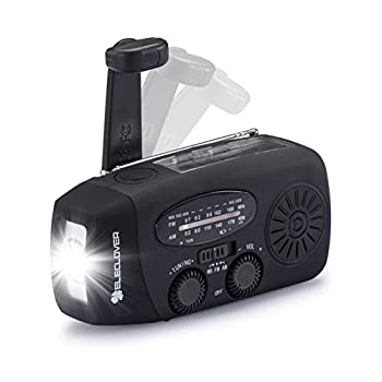 [Upgraded Version] ELECLOVER Portable Dynamo Emergency Solar Crank AM/FM/NOAA(WB) Weather Radio with LED Flashlight, Cell Phone Portable Charger, Black