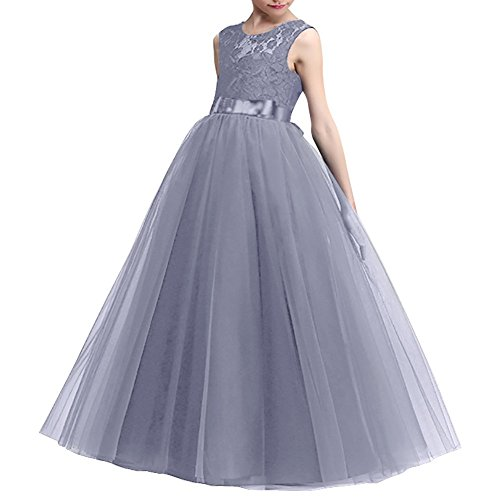 EsTong Big Girl Lace Bridesmaid Dress Dance Gown A Line Maxi Dresses Gray 7-8 Years ()