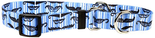 Moustaches & Stripes Blue Martingale Control Dog Collar - Size Small 14