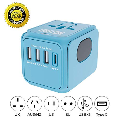Truton HIGH Speed 2.4 AMPS Smart Charger Blue Universal Travel Power Adapter, European Adapter, 3 USB 1 Type C Worldwide International World, AC Wall Plug All in One US UK EU AUS Asia