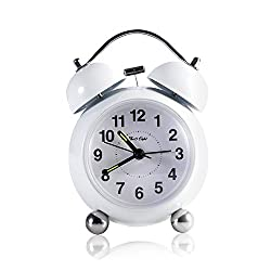 Twin Bell Alarm Clock, FIVE O EIGHT desk clock with Backlight,Large Numbers Display,Battery Operated Loud Alarm Clock (White)