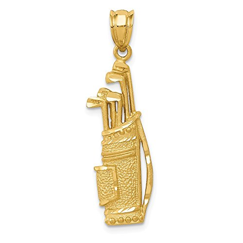 14K Yellow Gold Golf Bag Charm Pendant from Roy Rose Jewelry