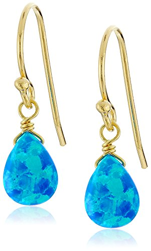 18k Yellow Gold Plated Sterling Silver Created Blue Opal Pear Cut 7x5mm Drop (18ct Yellow Gold Opal Earrings)