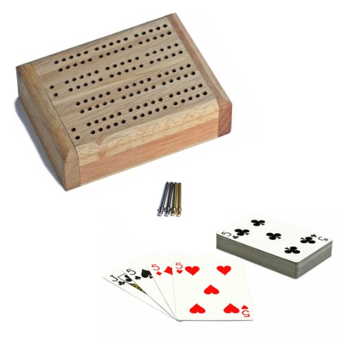 WE Games Mini Travel Cribbage Set Wood 2 Track Board w/ Swivel Top & Storage for Cards & Metal Pegs (Folding Cribbage Board)