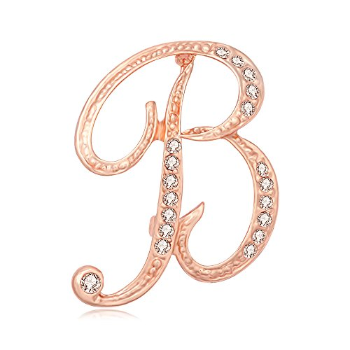 SENFAI 26 Single Initial Alphabet Letters Personalized Charms Brooch Pin Rose Gold Plated (B2)