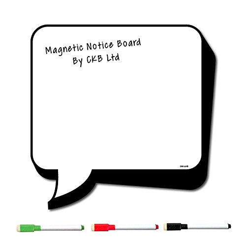 CKB Ltd CARTOON SPEECH BUBBLE Refrigerator Reminder Board Magnetic With Marker White & Pen - Drywipe Magnet Whiteboard Kitchen Memo Notice Large Daily Planner BLANK Dry Wipe Signage Sheet ()