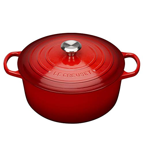 Le Creuset Signature Enameled Cast-Iron 13-1/4-Quart Round French (Dutch) Oven, Cerise (Cherry Red) w/Stainless Knob