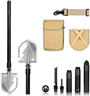 FSDUALWIN High Strength Military Folding Shovel with Carrying Pouch, Multipurpose Tactical Trench Shovel Tool/