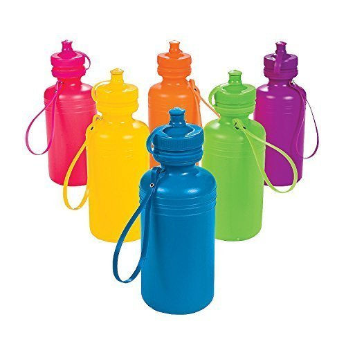 Fun Express - Neon Sport Water Bottles - Party Supplies - Drinkware - Water Bottles & Canteens - 12 Pieces