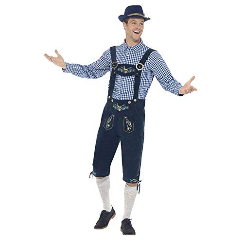 Elogoog Bavarian Men's Halloween Costume German Oktoberfest Beer Lederhosen (M, Navy)]()