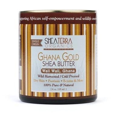 Shea Terra Organics - Ghana Gold Shea Butter (Wali Wali, Ghana), 4 oz - Gold Terra