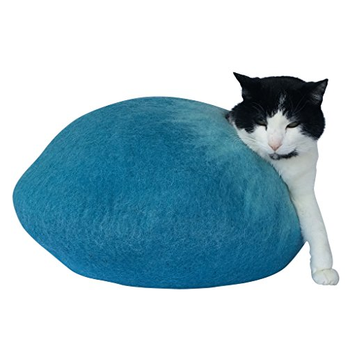Woolly Mammoth and Kitty Natural Felted Wool Hand Crafted Cat Bed / Cat House. Strong, Keeps it's Shape Cat Cave. Perfect for Cats with Allergies or S…
