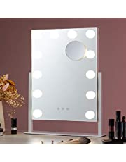 CO-Z Lighted Vanity Mirror Hollywood Makeup Mirror with Dimmable LED Lights with Touch Control and 10x Magnification Detail Mirror for Vanity Table Bedroom Night Stand Desk or Dresser (Small)