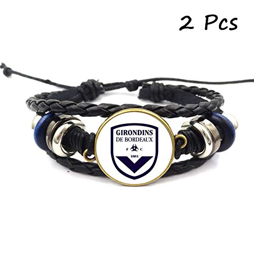 FANwenfeng Retro Ligue 1 Soccer Club Badge Beaded Woven Leather Bracelet Football Sport Wristband for Fans 2 Pcs (Bordeaux)