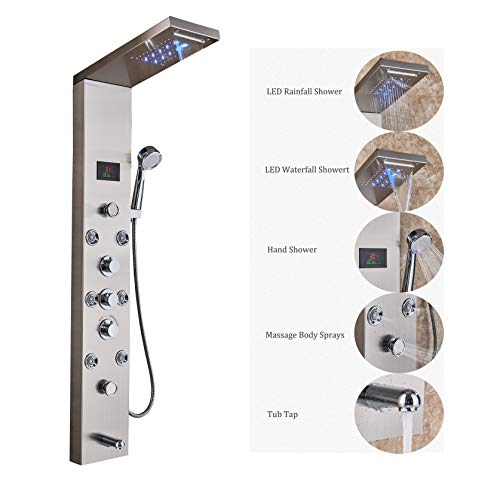 Rozin Bathroom Thermostatic Tub Shower Faucet Panel Set LED Rain Waterfall Showerhead + Body Massage Jets + Handheld Spray Stainless Steel