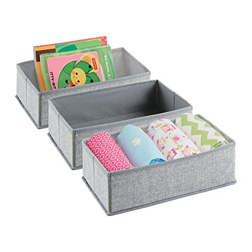 mDesign Soft Fabric Dresser Drawer and Closet Storage Organizer for Toddler/Kids Bedroom, Nursery, Playroom - Rectangular Bin with Textured Print, 3 Pack - Gray