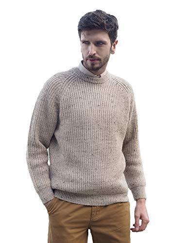 Aran Crafts Fisherman's Rib Crew Wool Neck Sweater MED Skiddaw (C761-MED-SKI)