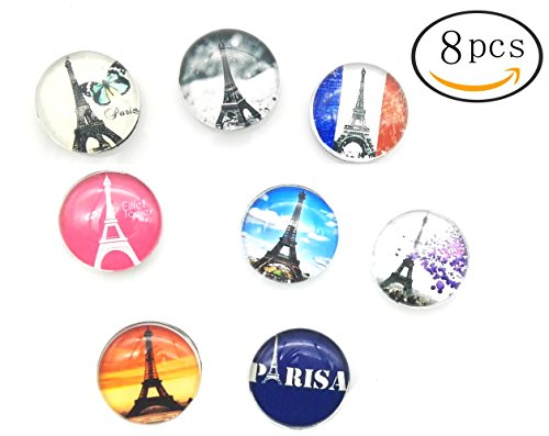 FF Elaine 8 Pcs Office Magnets, Refrigerator Magnets, 25mm-Diameter Home Decoration Accessories Magnet Paste Arts Crafts (Eiffel Tower)