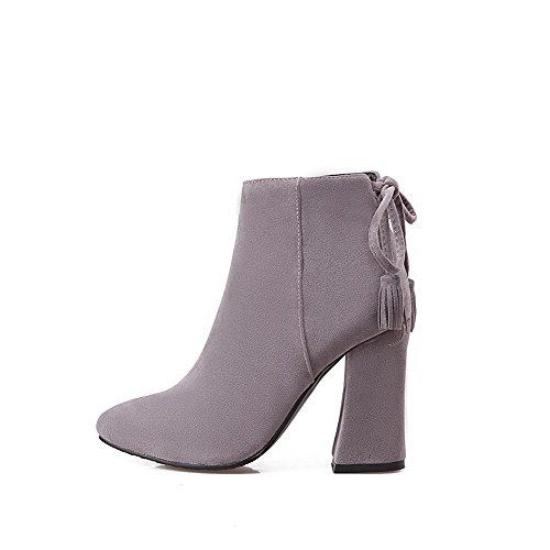 Allhqfashion Pointed Closed Zipper High Top Boots Heels Women's Low Toe Gray wqnArfHw6x