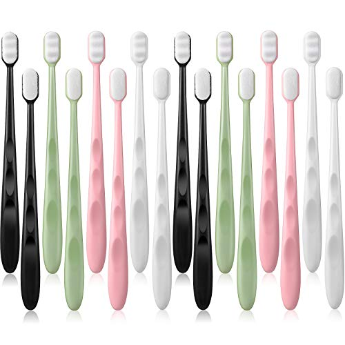 16 Pieces Extra Soft Toothbrush Micro-Nano Toothbrush with 20000 Floss Bristles Manual Toothbrushes for Sensitive Teeth…