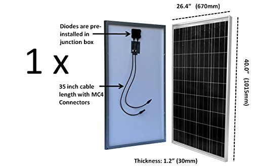 WindyNation-100-Watt-Solar-Panel-Complete-Off-Grid-RV-Boat-Kit-with-P30L-LCD-PWM-Charge-Controller-Solar-Cable-MC4-Connectors-Mounting-Brackets-100Ah-AGM-Deep-Cycle-Battery