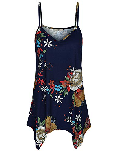 Cestyle Loose Tank Tops for Women, Misses Sleeveless Floral V Neck Cami Tunic Relaxed Fit Spaghetti Strap Camisole Summer Outfits Blue Flower XX-Large