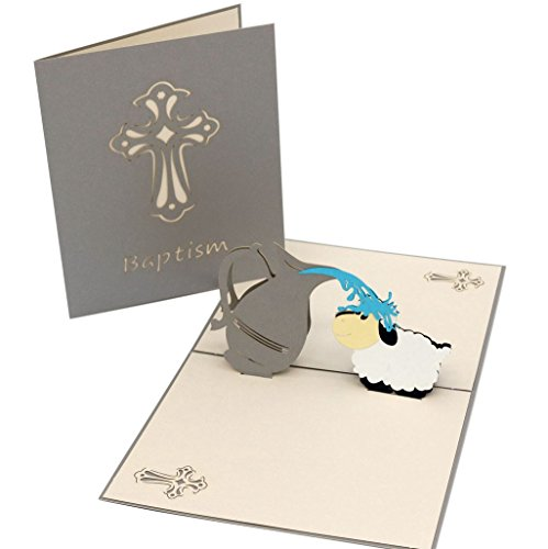 IShareCards Handmade 3D Pop Up Sheep Baptism Christening Card Gift Thank You Greeting or Invitations With Envelope