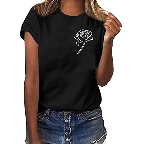 (Women Plus Size Shirt Fashion Casual O-Neck Tunics Blouses Tops Love Rose Print Short Sleeve T-Shirt Top Activewear)