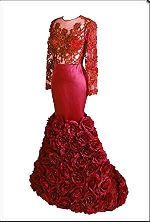 Amazon.com: Tsbridal Mermaid Prom Dresses 2018 Long Sleeves Open Back Evening Party Gowns: Clothing