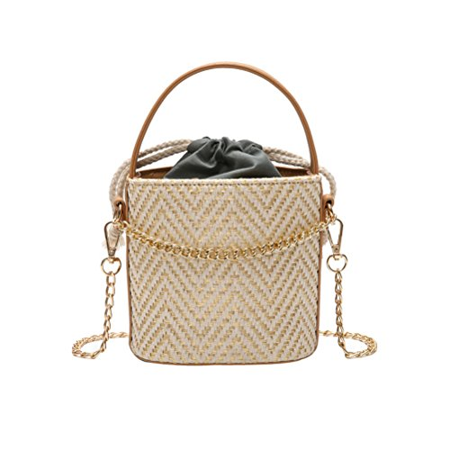 (Donalworld Women Drawstring Straw Bag Chain Woven Bucket Shoulder Bags Cl)
