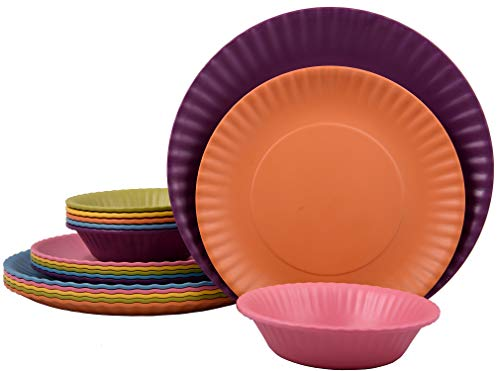 Melange 18-Piece Melamine Dinnerware Set (Paper Plate Collection) | Shatter-Proof and Chip-Resistant Melamine Plates and Bowls | Color: Multicolor | Dinner Plate, Salad Plate & Soup Bowl (6 ()