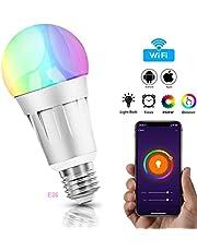 Smart Wifi Bombilla, WINSUNY Bombilla LED Inteligente LED Smart Bulb 6000K 7W 600lm RGB Colour Luz lámpara funciona con Amazon Alexa, Echo y Google casa, 60W equivalente, Remoto Controlado por iOS/Android Dispositivos [Clase de eficiencia energética A+]