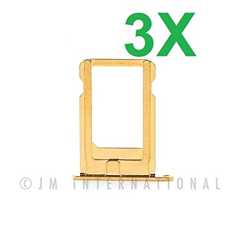 ePartSolution_Lot of 3 iPhone 5 | iPhone 5S | iPhone 5SE SIM Tray Nano Sim Card Tray Slot Holder Replacement Part USA Seller (iPhone 5S/SE Gold) (Iphone 5s Gold Sim Slot)