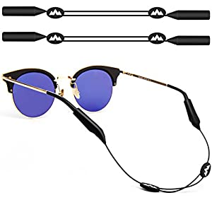 2Pack Adjustable Eyewear Retainer, maxin 16 inches No Tail Sunglass Straps, Sunglasses Holder,Sunglasses Retainer (Black)