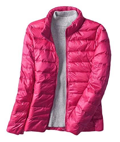 XINHEO Men Outwear Puffer Short Style Stand Collar Ultra Lightweight Down Coat Rose Red