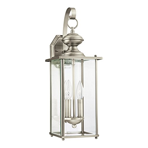 Wall Beveled Light (Sea Gull Lighting 8468-965 Jamestowne Two-Light Outdoor Wall Lantern with Clear Beveled Glass Panels, Antique Brushed Nickel Finish)