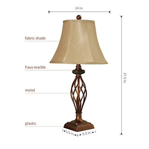Table Lamp Set of 2 for Bedroom or Living Room, 27.5 in. High Royal Bronze Finish, Large Bedside Reading,Dining,Kitchen,Nightstand Traditional Table Lamps (Bronze Table lamp)