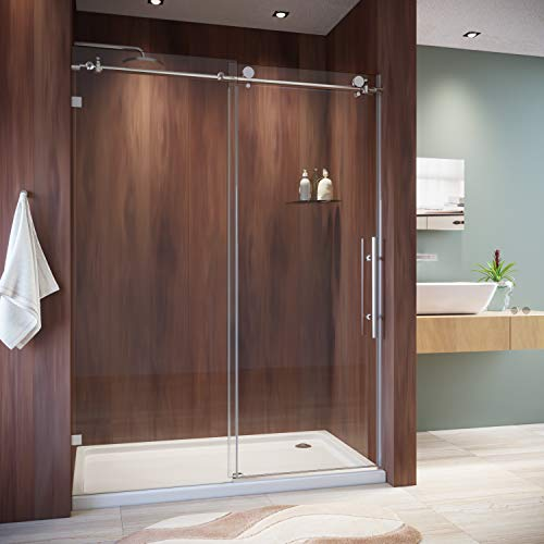 SUNNY SHOWER Frameless Sliding Shower Door 3/8 inch Clear Glass shower Panel 60 in. W x 79 in. H Shower Glass Door with Chrome Finish Shower Enclosure for Bathroom
